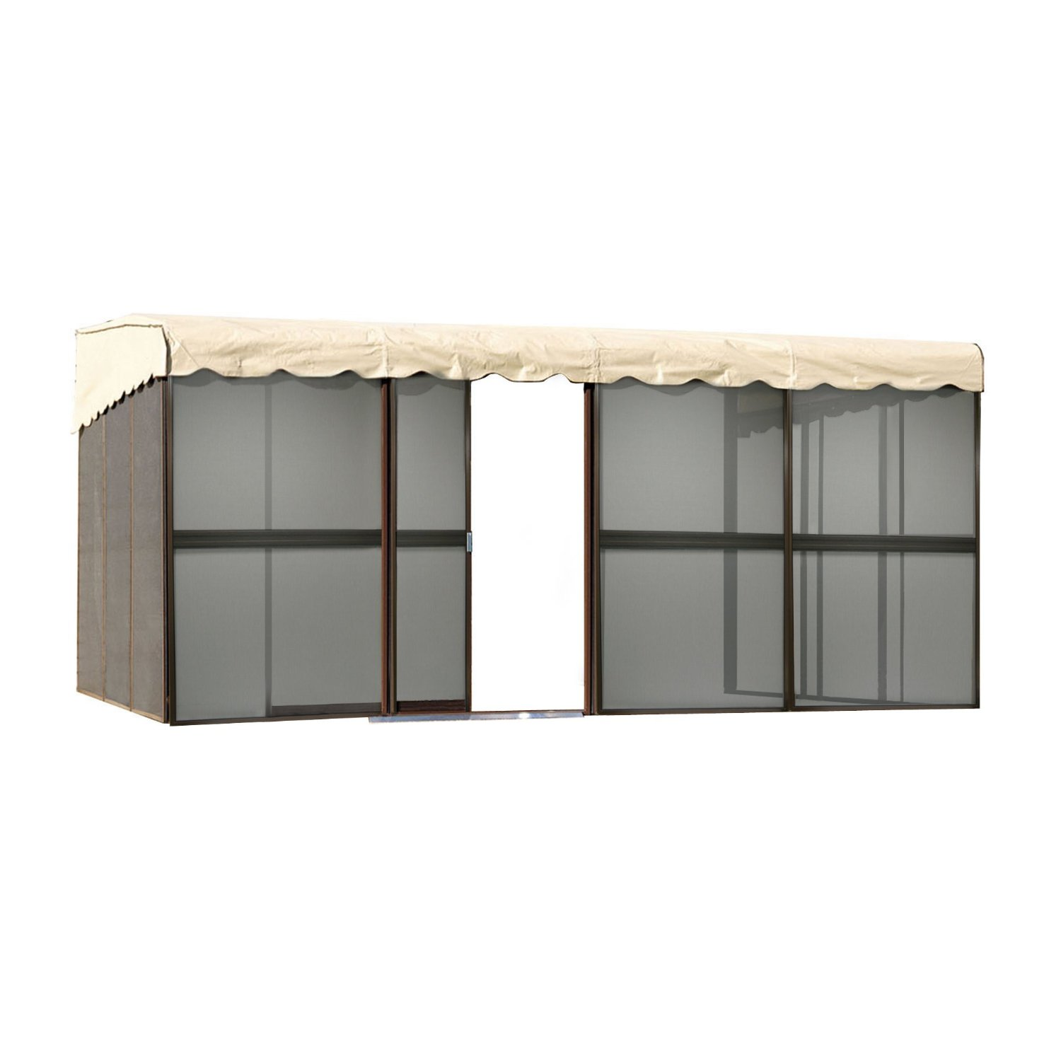 Patio Mate 10-Panel Screen Enclosure 09165, Brown with Almond Roof